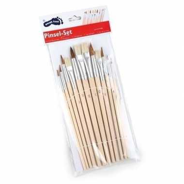 12x schilder penselen voordeelset