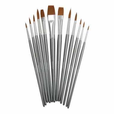 12x setje schilder penselen rond synthetisch