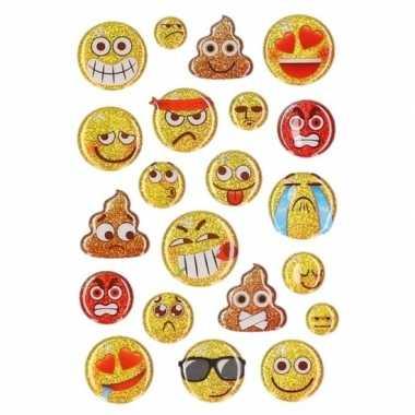 15x glitter 3d smiley stickers op vel