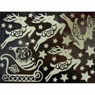 1x kerst raamversiering glow in the dark raamstickers 29,5 x 40 cm