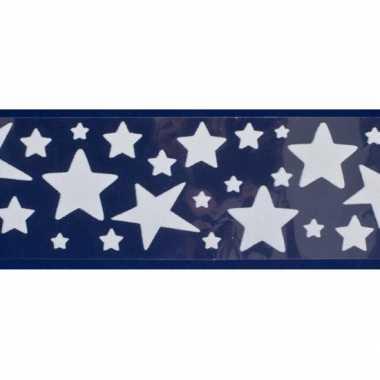 1x vel kerst raamversiering raamstickers witte sterren 12,5 x 58,5 cm
