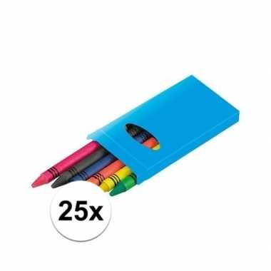 25x pakjes 6 gekleurde uitdeel wasco krijtjes