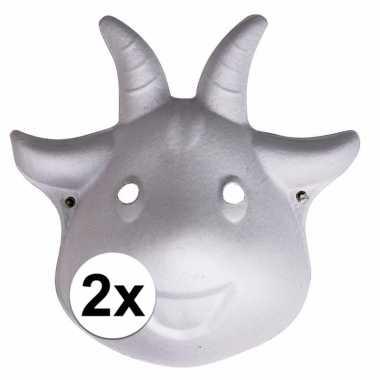 2x knustel maskers geit met elastiek