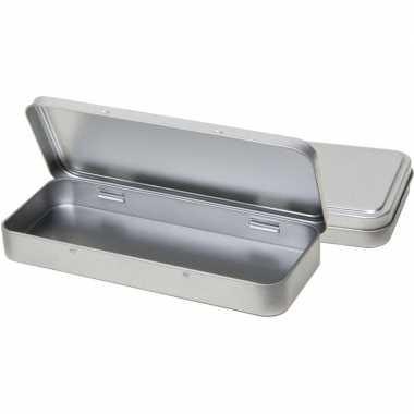 2x pennendoosje/pennenblikje zilver aluminium 8 x 18 cm schrijfgerei