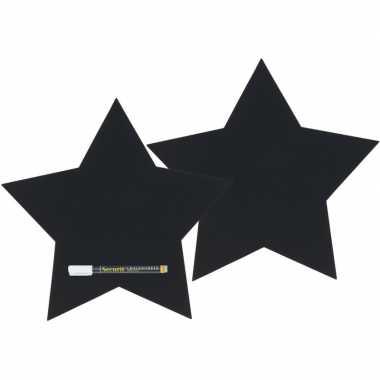 2x zwart schrijfbord sterren vorm 27 x 26 cm