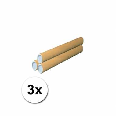 3 handwerk kokers van karton 53x6 cm