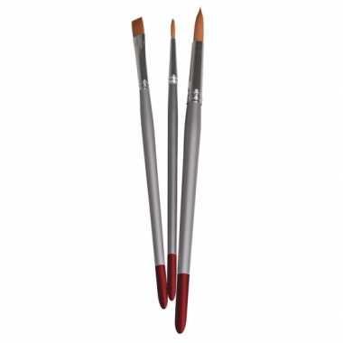 3 nylon penselen voor textielverf