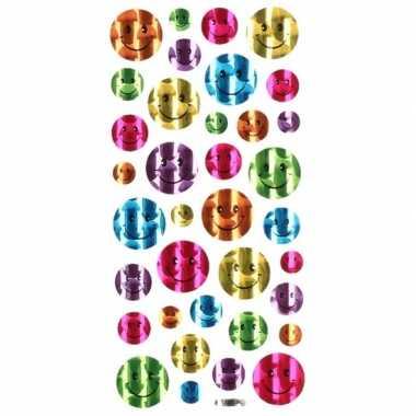 36x gekleurde glimmende smiley stickers