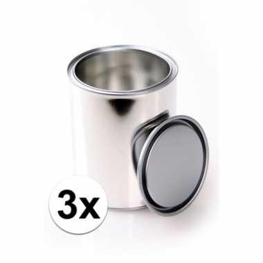 3x knutsel blikjes met deksels