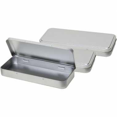 3x pennendoosje/pennenblikje zilver aluminium 8 x 18 cm schrijfgerei