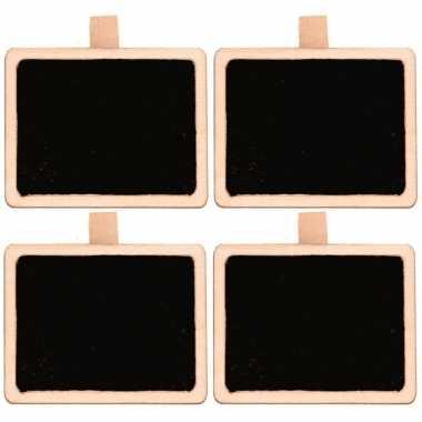 4x houten rechthoekig krijtbord/schrijfbord op knijper 5 cm