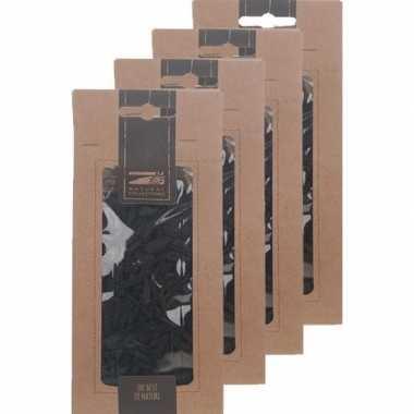 4x zakje zwarte houtsnippers 150 gram