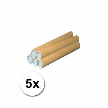 5 handwerk kokers van karton 53x6 cm