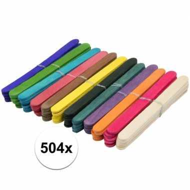 504x gekleurde ijslolly stokjes