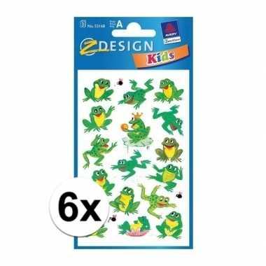 6 vellen met kikkertjes stickers