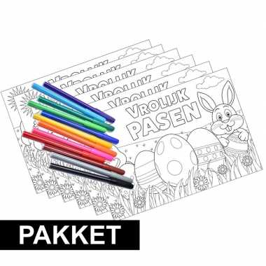 6x Pasen Kleurplaten Placemats Met Stiften Knutsel Ideeen Nl