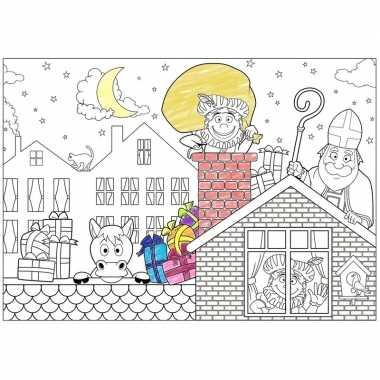 6x sinterklaas kleurplaat/placemats voor 5 december