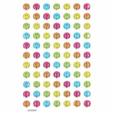 75x gekleurde smiley stickers op vel