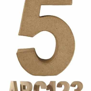 Cijfer 5 van papier mache voor decoratie