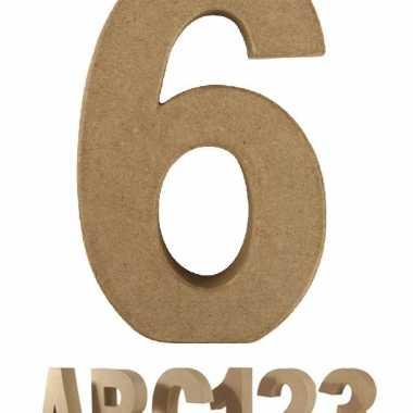 Cijfer 6 van papier mache voor decoratie