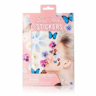 Gezicht plakkers 3d bloemen en vlinders