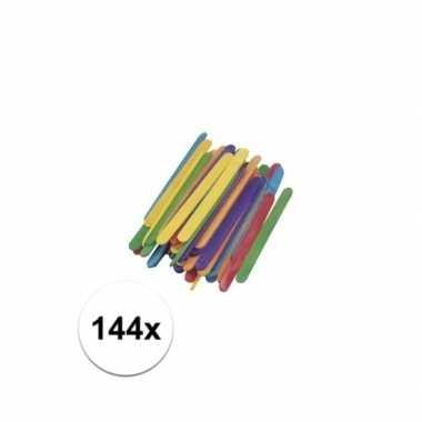 Houten gekleurde knutsel stokjes 11 cm 144x