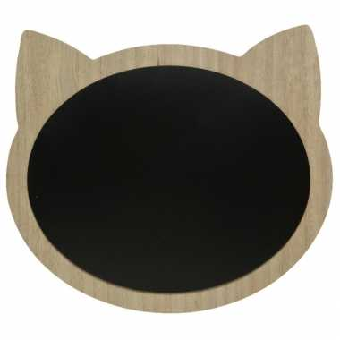 Katten/poezenkop schrijfbord/memobord mdf 40 x 35 cm