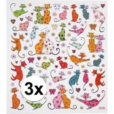 Katten thema kinder stickers 3 vellen