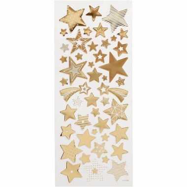 Kerst sterren stickers goud 52 stuks