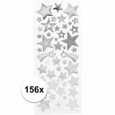 Kerst sterren stickers zilver 156 stuks