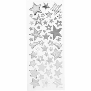 Kerst sterren stickers zilver 52 stuks