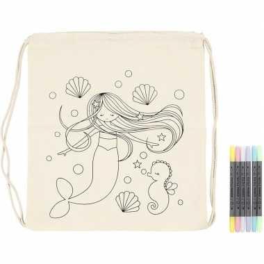 Knutselset rugtasje zeemeermin met textielstiften