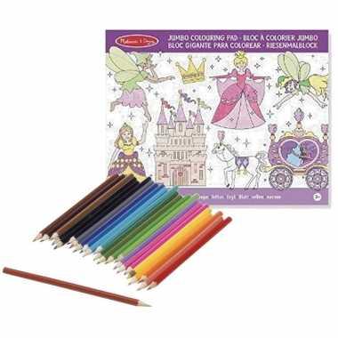Meisjes prinsessenboek met kleurpotloden set