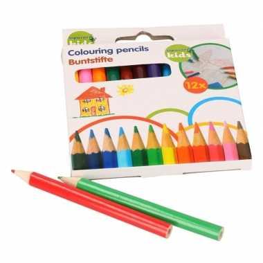 Mini kleurpotloden 12 stuks