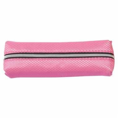 Neon roze schrijfwaren etui 19 cm