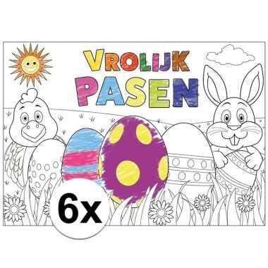 Kleurplaten Thema Pasen.Pasen Kleurplaat Placemats 6 Stuks Voor Paasontbijt Paaslunch