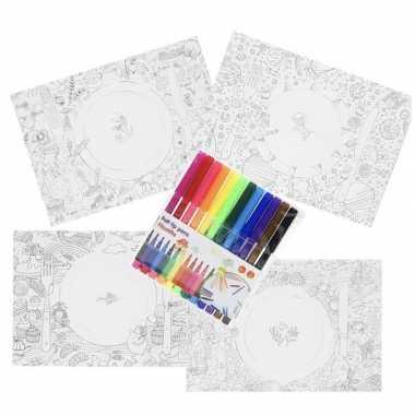 Placemat inkleuren met 12 stiften voor kinderen