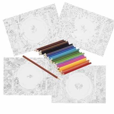 Placemat inkleuren met kleurpotloden voor kinderen