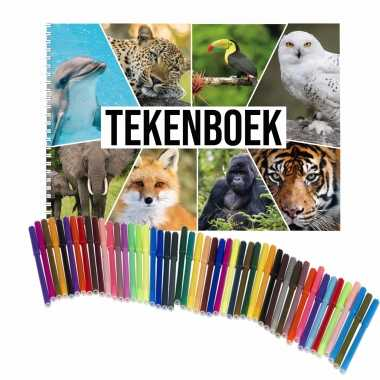 Schetsboek dieren liefhebbers a4 50 paginas met 50 viltstiften
