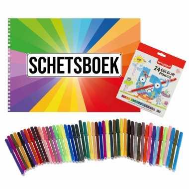 Schetsboek kleurenwaaier thema a4 50 paginas met 50 viltstiften en 24 potloden