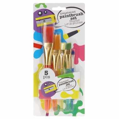 Schilderbenodigdheden kwasten/penselen 5 stuks voor kinderen