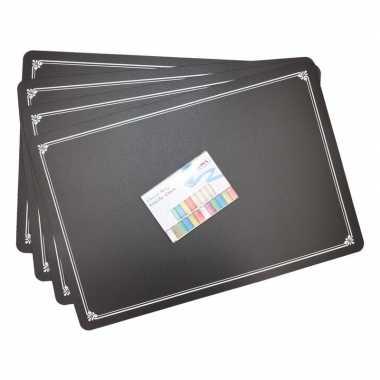 Set van 4 placemats met krijtbordlaag incl. krijtjes