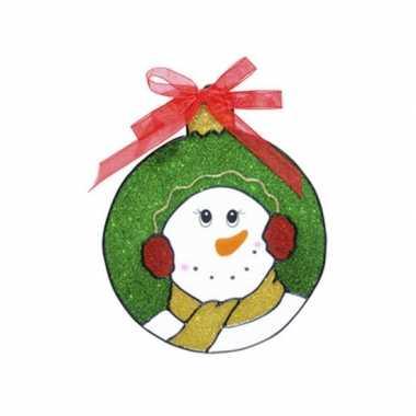 Sneeuwpop raam sticker 18 cm