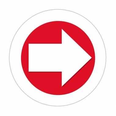 Sticker pijl rood met wit met witte rand