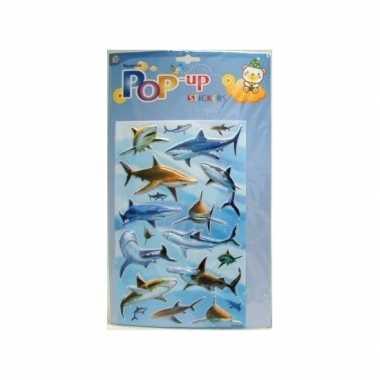 Stickervel met 3d haaien plaatjes