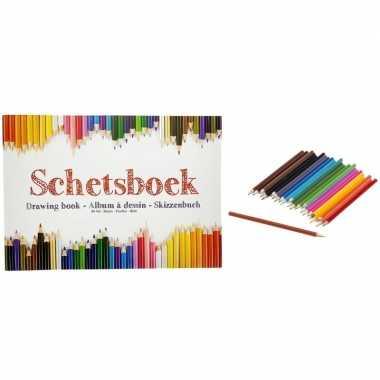 Tekenboek a4 papier met tekenpapier en kleurpotloden 24 stuks