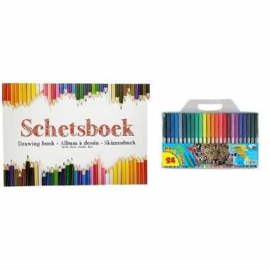 Tekenboek a4 papier met tekenpapier en viltstiften 24 stuks