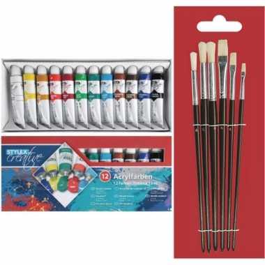 Toppoint set van 12 tubes acrylverf voor kinderen met 6 schilder penselen