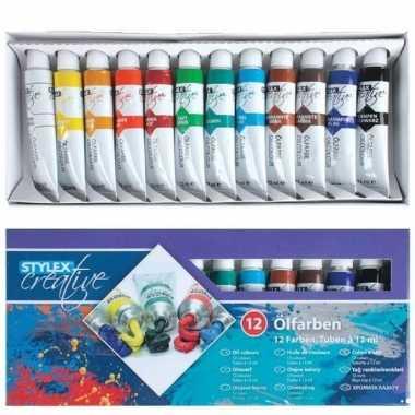 Verschillende kleuren olieverf 12-delig