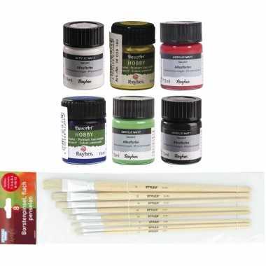 Voordeelset van 6x verschillende kleuren acrylverf/hobbyverf 15 ml per potje + 6x penselen